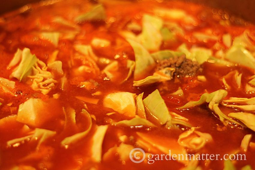Stuffed Cabbage Soup on Stove ~gardenmatter.com