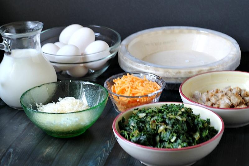 quiche ingredients, eggs, cheeses, veggies, pie shells