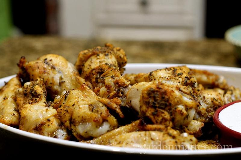 Wings close - Baked Wing Recipe - gardenmatter.com