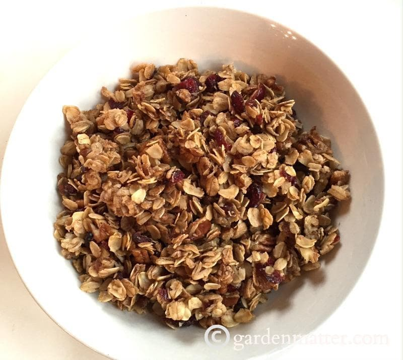 This easy granola recipe is made with brown sugar, cranberries, pecans and oats.