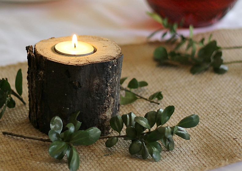 rustic candle holder made from logs