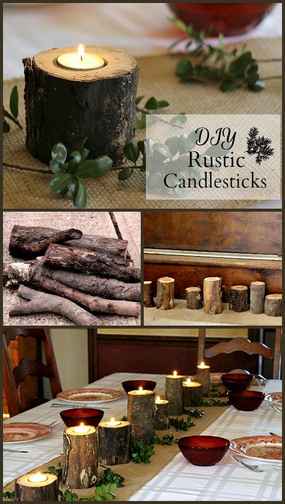 DIY Rustic Log Candle Holders
