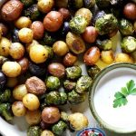 Roasted Brussel Sprouts with Baby Potatoes & Blue Cheese Dip