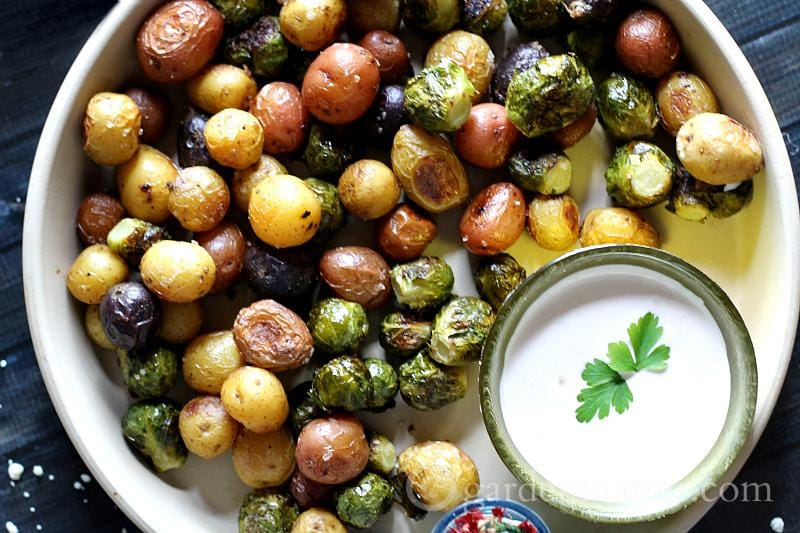 Blue-Cheese-Dip-Roasted-Brusell-Sprouts-and-Baby-Potatoes - Appetizers