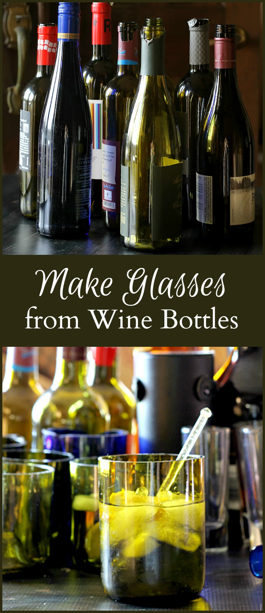 This tutorial shows you how to make drinking glasses from recycled wine bottles. The process is easier than you think. - gardenmatter.com
